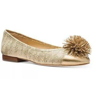 Michael Kors Lolita Leather Gold Pom flats